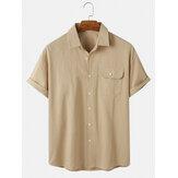 Хлопковые мужские однотонные рубашки с короткими рукавами и карманом