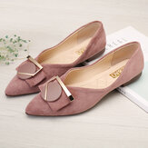 Women's Button-detailed Suede Pointy Toe Flats