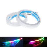 ヘッドライト用2X RGB 60CM APP LED DRLスリムフレキシブルデイタイムランニングストリップライト
