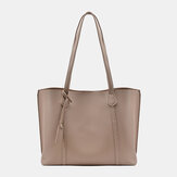 Women PU Leather Large Capacity Casual Brief Tote Shoulder Bag Handbag