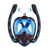 Силиконовая маска для подводного плавания с двойной трубкой, полностью сухая маска для дайвинга, маска для плавания, очки, автономный подв
