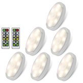 6pcs 1W LED Under Cabinet Light Wall Ceiling Corridor Night Lamp Remote Control 4000K