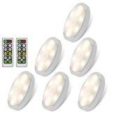 6pcs 1W LED Debajo del gabinete, luz de la pared, techo, pasillo, noche Lámpara Control remoto 4000K
