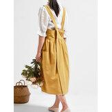 Archiwalne damskie plecy krzyż czysta kolor kieszenie bawełniana sukienka