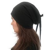 Kvinders Plain Color Turban Hat Casual Bow Skullcap Beanie Caps