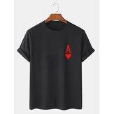 Camisetas de manga corta 100% algodón con estampado de póquer Ace Of Hearts para hombre