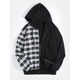 Mens Plaid Patchwork Zipper Long Sleeve Hooded Jacket With  Pocket