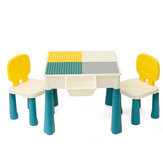 5-in-1 Multi Activity Table Set With Two Chair & Case Large Building Blocks For Kids