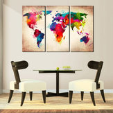 3 szt. Abtract World Map Blejtram obrazy Wall Art Picture Decor Unframed Home Decorations