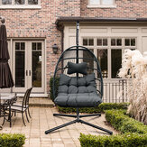 KCASA  Swing Chair with Stand and Dark Grey Chair Pad Outdoor Wicker Tear Drop Hanging Lifts