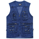 Mens Denim Photography Blue Zipper Multi Pockets Fishing Outdoor Casual Vest
