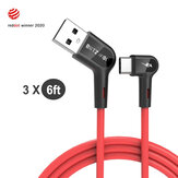 [3 Pack] Blitzwolf® BW-AC1 3A 90°Right Angle USB A to Type-C Data Cable 6ft Reddot Award 2020 for Gaming Phone Huawei P30 P40 Pro Mi10