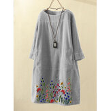 Women Embroidered Floral Vintage Corduroy Plain O-Neck Casual Dress Wit Pocket