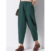 Solid Color Elastic Waist Long Pants