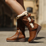 Women Plush Lining Buckle Decor Mid Calf Motorcycle Boots