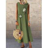 Women Summer Vintage Flower Print Sleeveless Loose Maxi Dress with Pockets