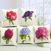 Rose Flowers Cotton Linen Rzuć Poszewka na poduszkę Sofa łóżko Poszewka Home Decor