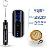 Elektrischer Milchaufschäumer Handmixer USB Wiederaufladbarer 3-Gang-Mixer LCD Display für Kaffee Ei Milch Latte Cappuccino