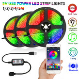 1M/2M/3M/4M/5M 5V bluetooth APP LED Strip Light USB Power Non-waterproof 5050 RGB Music Sync TV Backlight