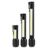 XANES® XPE R3 + COB Luz lateral 220LM Linterna con zoom USB Recargable cámping Linterna Potente luz de trabajo