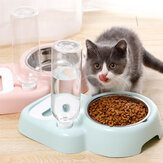 2 In 1 Automatic Pet Bowl 500ml Adjustable Drinking Fountain Dog Cat Food Feeder