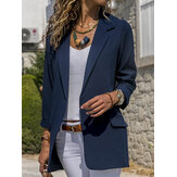 Mujeres Otoño Oficina de manga larga Casual Fit Turn-Down Collar Blazers