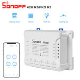 SONOFF 4CH R3 & 4CH PRO R3 AC100-240V 50 / 60Hz 10A 2200W 4 Gang WiFi DIY Smart Switch Inching / Self-Locking / Interlock 3 Working Mode APP Remote Control Switch Arbejder med Alexa og Google Home