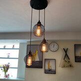 Lampada a sospensione industriale a 3 luci a soffitto in metallo con gabbia vintage lampada senza lampadina