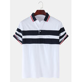 Mens Patchwork Color Splice Casual Short Sleeve Golf Shirt