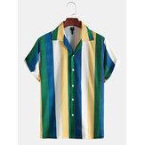 Erkek Moda Çok Çizgili Düğmeler Turn Down Yaka Gömlek
