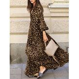 Maxi con cordones y mangas abullonadas con cuello en V y estampado de leopardo Vestido para Mujer