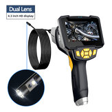 Inskam112-2 Handheld Dual-lens 5M Borescope Hard Wire IP67 Waterproof for Car Sewer Air Conditioner Mechanical Maintenance