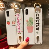 MEKS Fashion Fruit Plant Pattern with Wrist Strap Bracket Shockproof Silicone Protective Case for iPhone X / XR / XS / XS MAX / 6 / 6S / 6 Plus / 6S Plus / 7 / 8 / 7 Plus / 8 Plus