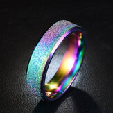Stainless Steel Frosted Rainbow Color Black Couple Ring