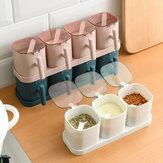 3/4 Compartimenten Keuken met Deksel Kruiden Opbergdoos Huishouden Met Lepel met Basis Kruiden Jar Set