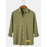 Mens Cotton Solid Color Label Pocket Simple Long Sleeve Casual Shirts