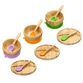 Baby Bamboo Suction Bowl Plate and Matching Spoon Set Kids Put Feeding Bowl