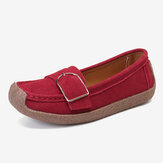 Women Soft Sole Buckle Breathable Casual Slip On Flats