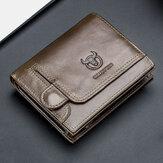 Bullcaptain Men Genuine Leather Thin Card Holder Wallet Driver's License Wallet