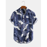 Mens New Fashion Estilo Chinês Crane Print Cotton Camisas de manga curta