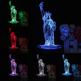3D New York City Estátua da Liberdade Toque Remoto 7 Cor Mudar LED Tabela Noite Luz Luz Presente