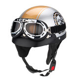 Motorcycle Open Face Safety Helmet With Sun Visor+Goggles 3 Button