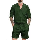 Erkekler Düz Renk İpli Kısa Tulum Pantolon