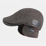 شعر الرجال Plus سميكة دافئة حماية الأذن الصلبة اللون عارضة قصيرة إلى الأمام قبعة قبعة البيريه