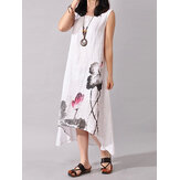 Women Folk Style Ink Painting Floral Sleeveless Dress