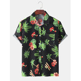 Mens Leaves Print Kurzarm Urlaub Casual Shirts