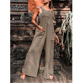 Pure Color Double Pocket Strappy Sleeveless Casual Wide Leg Jumpsuits For Women