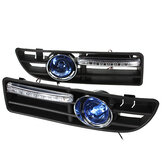 Pair Front Fog Light LED DRL Daytime Running Lights with Grill For VW Golf Jetta Bora Mk4 1999-2004