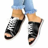 Women Summer Slipper Lace Up Round Toe Casual Flip Flops Shoes Holiday Beach Camping Hiking