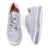 Nis Women Spring Sequin Glitter Bling Sneakers Casual Lace Up Flats Casual Platform Shoes